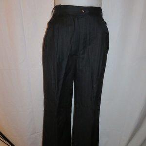 CHANEL BLACK,GRAY PIN-STRIPE CASUAL PANTS 38/S